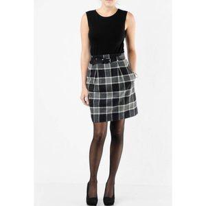 Theory Wool/Angora Blnd Loraine Belted Plaid Dress